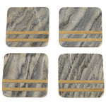 Gray Marble & Brass Coaster Set-Picnic-sf