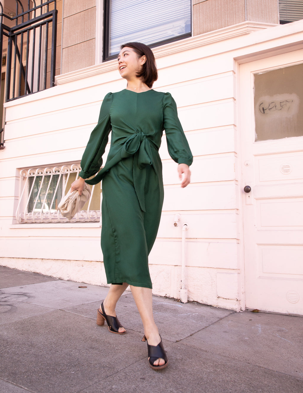 Green Abelie Long Sleeves Midi Dress - picnic-sf