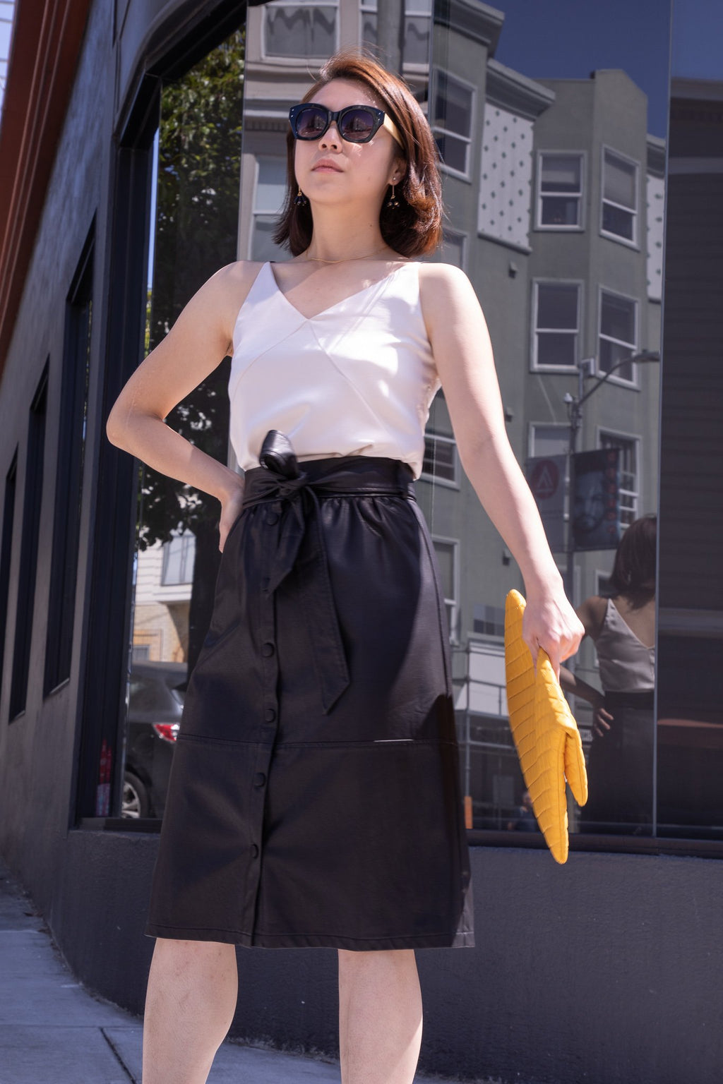 Black Ermine Leather Midi Skirt - picnic-sf