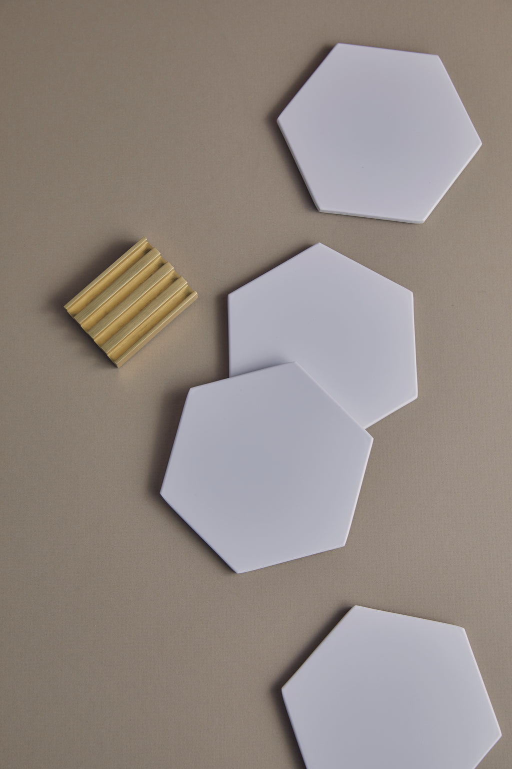 Hexagonal Coasters With Stand Set