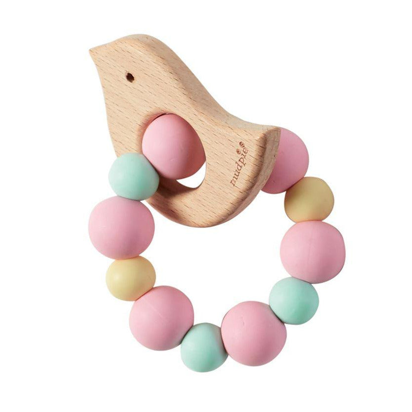 Wooden Chick with pink and pastel silicone ring teether