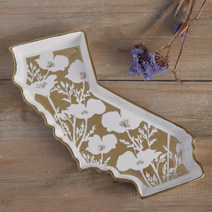 California Shaped Poppy Trinket Tray