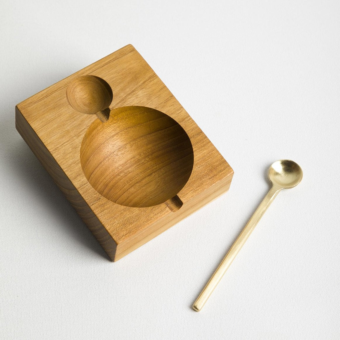 Teak Salt Cellar w Gold Spoon - Picnic SF
