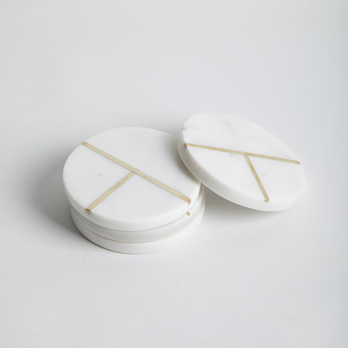 Aperture marble and brass coaster set- Picnic SF