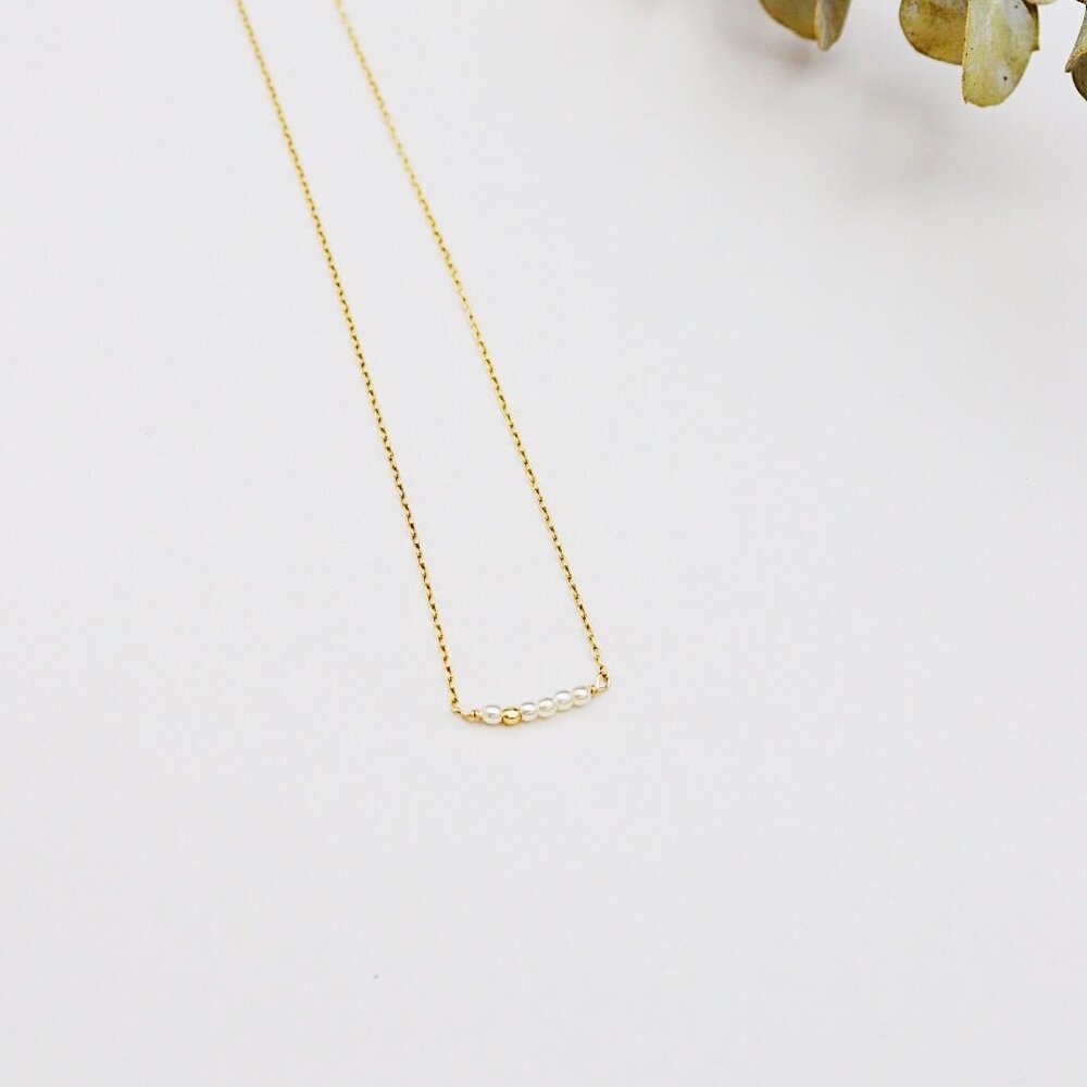 Pearl Bar necklace Gold fill chain