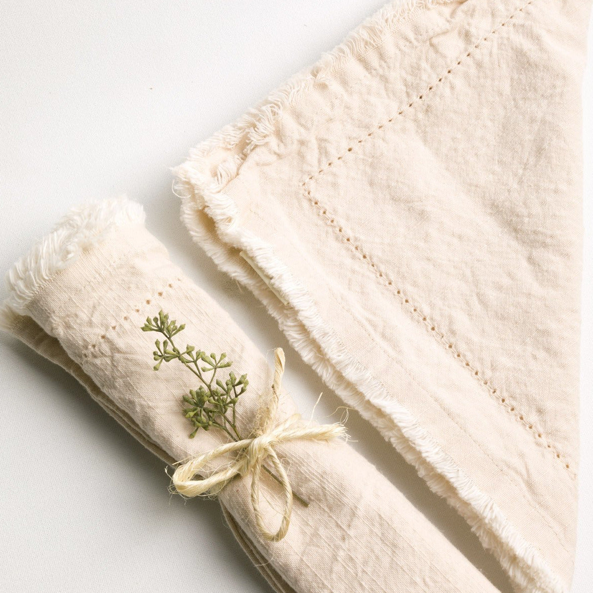 Frayed Edge Napkin Cream- PICNIC SF