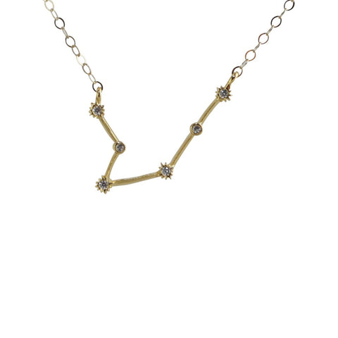 Aquarius CZ Outline Necklace