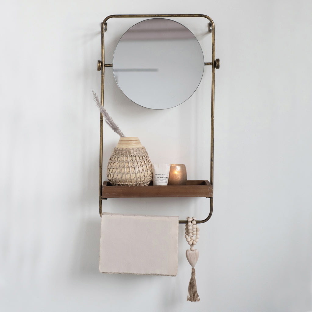 Avery Metal Wall Mirror with Wood Shelf and Towel Bar