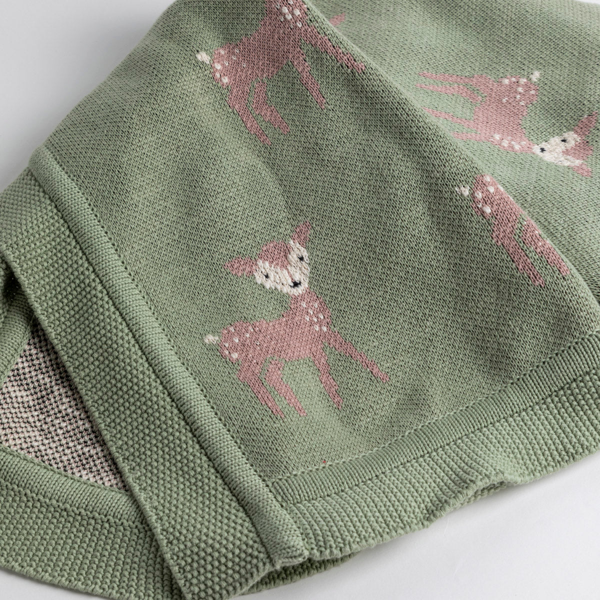 Cotton Knit Blanket Deer- Picnic SF
