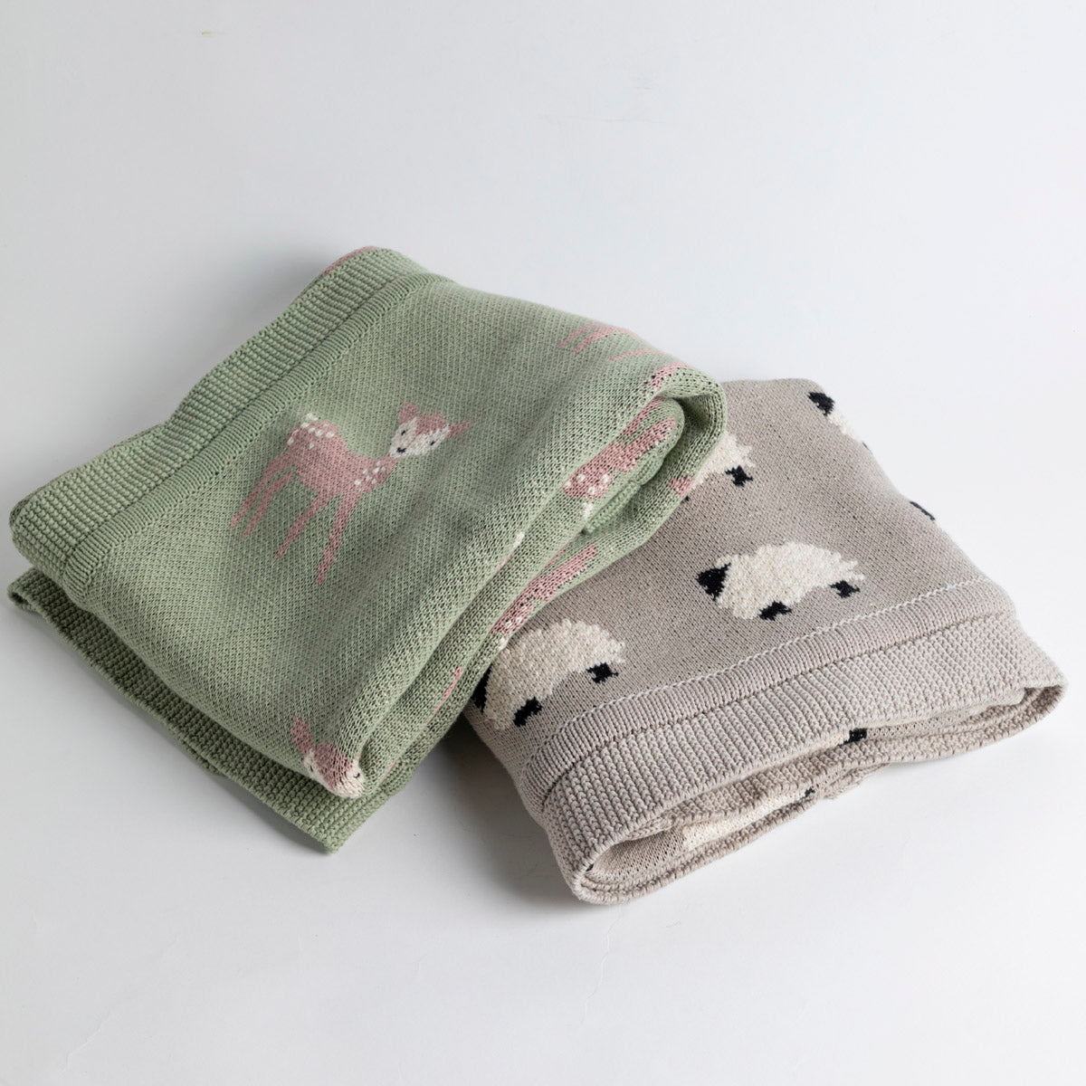 Cotton Knit Blanket Deer and Sheep- Picnic SF