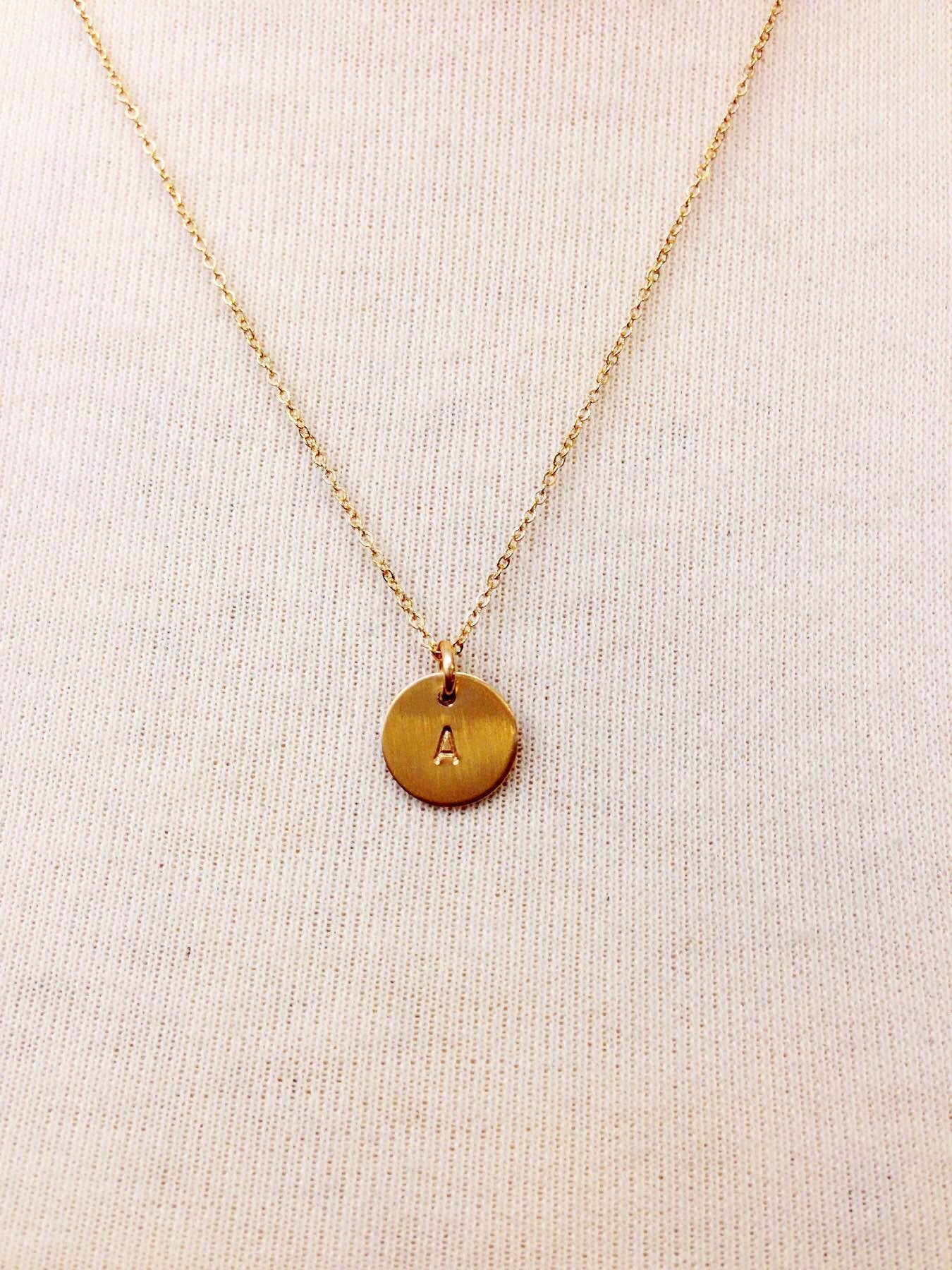 Classic Hand-stamped Initial Necklace - picnic-sf