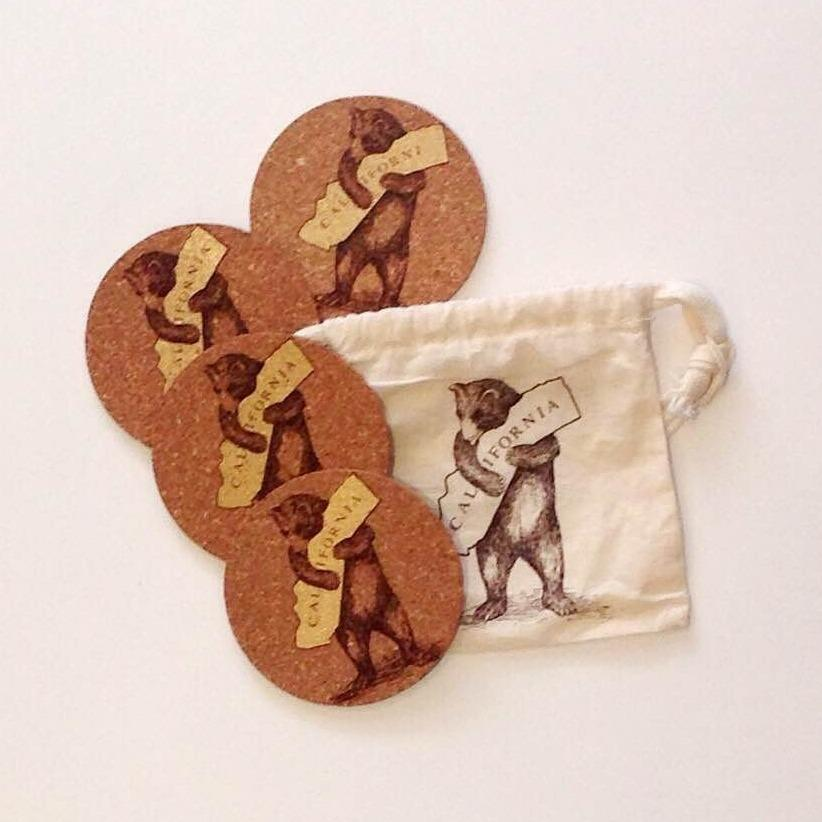 California Bear Hug Coasters Set - picnic-sf