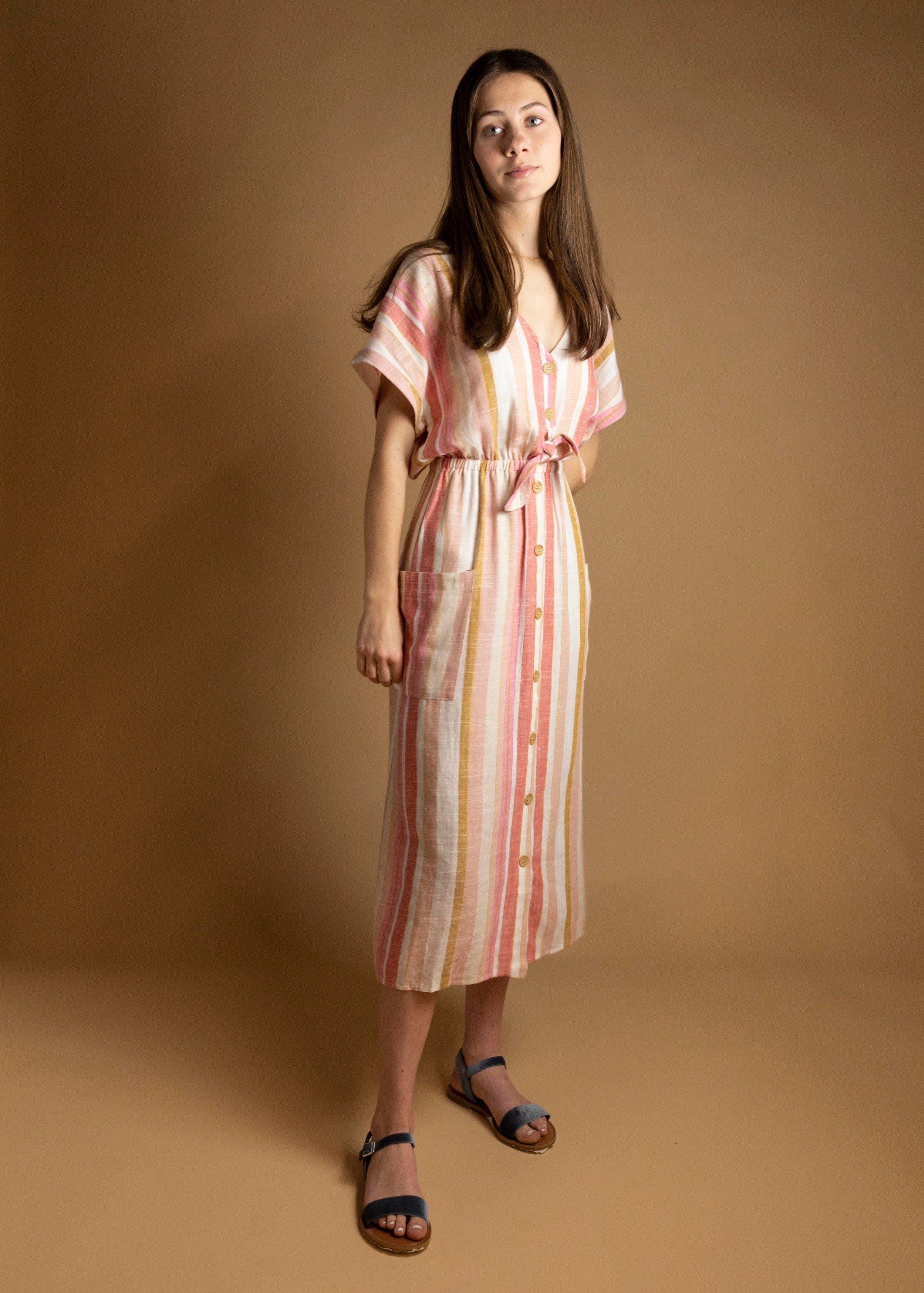 Pastel Blush Striped Button Down Tie-Front Midi Dress-Picnic-sf