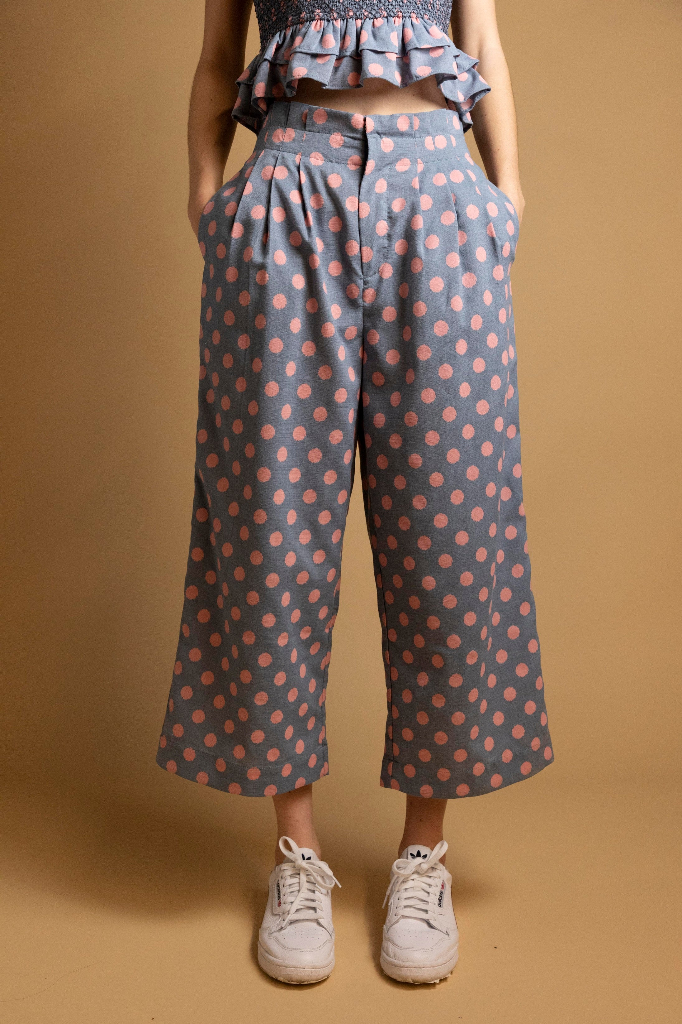 Set Polka Dots Ruffle Pleated Pants-Picnic-sf