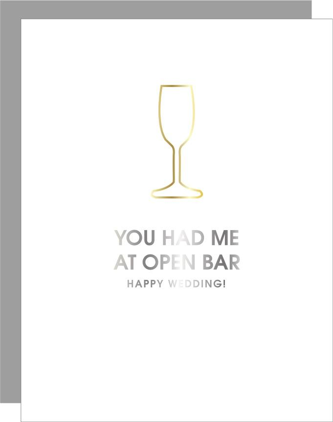 Open Bar Wedding Bottle Paper Clip Letterpress Card-Picnic-sf