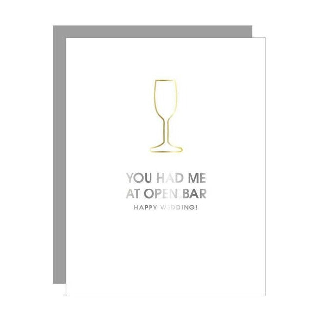 Open Bar Wedding Bottle Paper Clip Letterpress Card