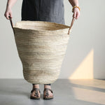 Oversized Moroccan Basket With Leather Handles