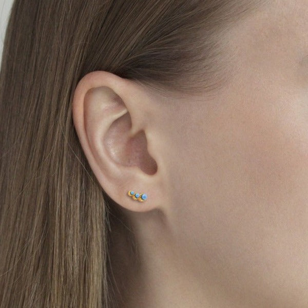 Mini Turquoise Bar Stud Earrings-Picnic-sf