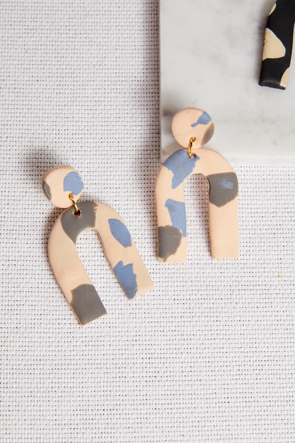 Blue & Charcoal Arc Earring - P I C N I C