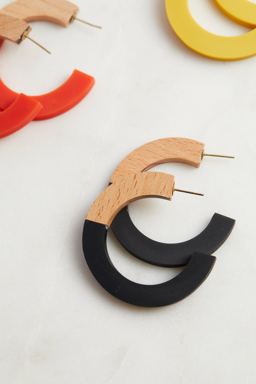 Wood & Black Resin Hoops - picnic-sf