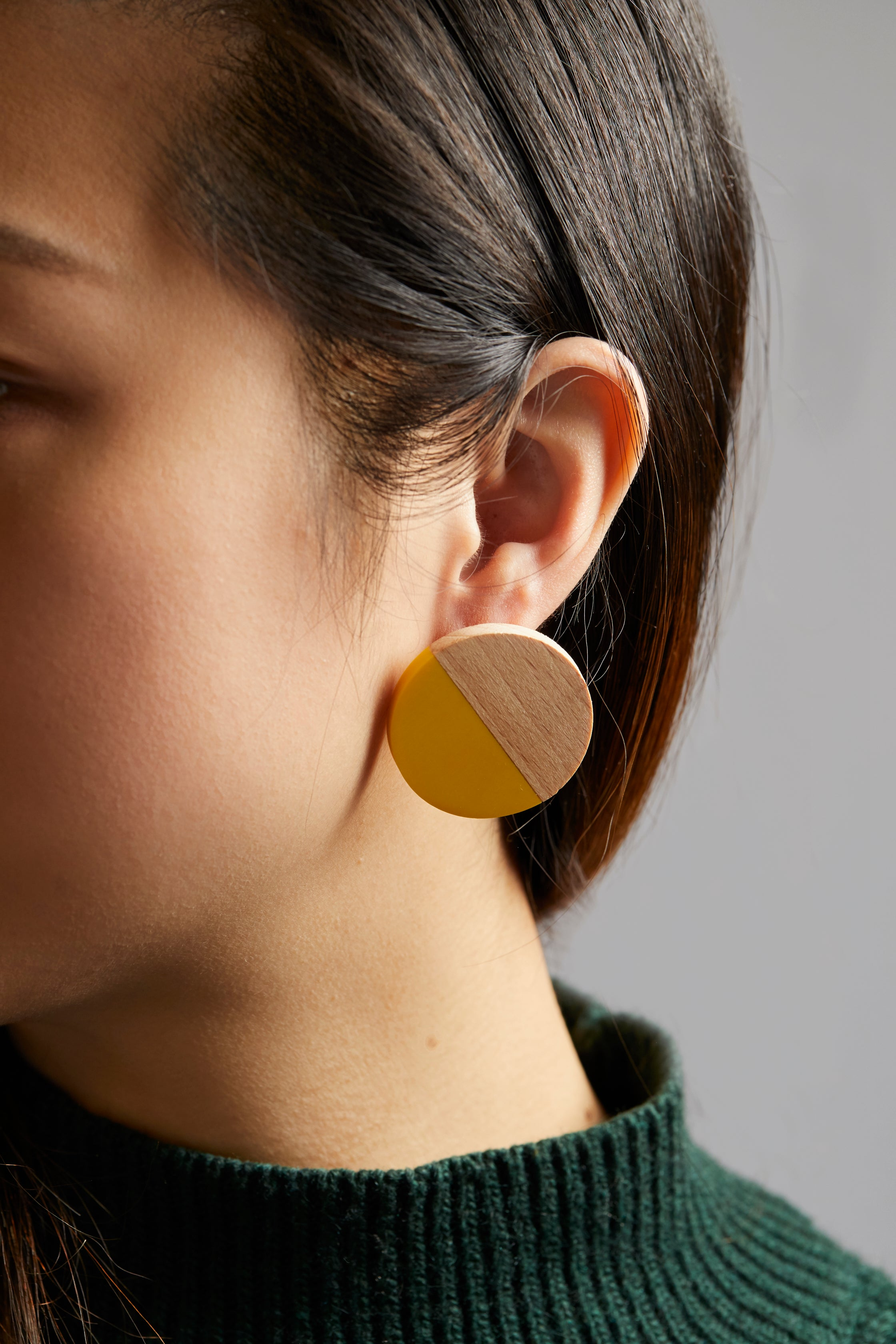 Wood & Yellow Resin Circle Post Earring - picnic-sf