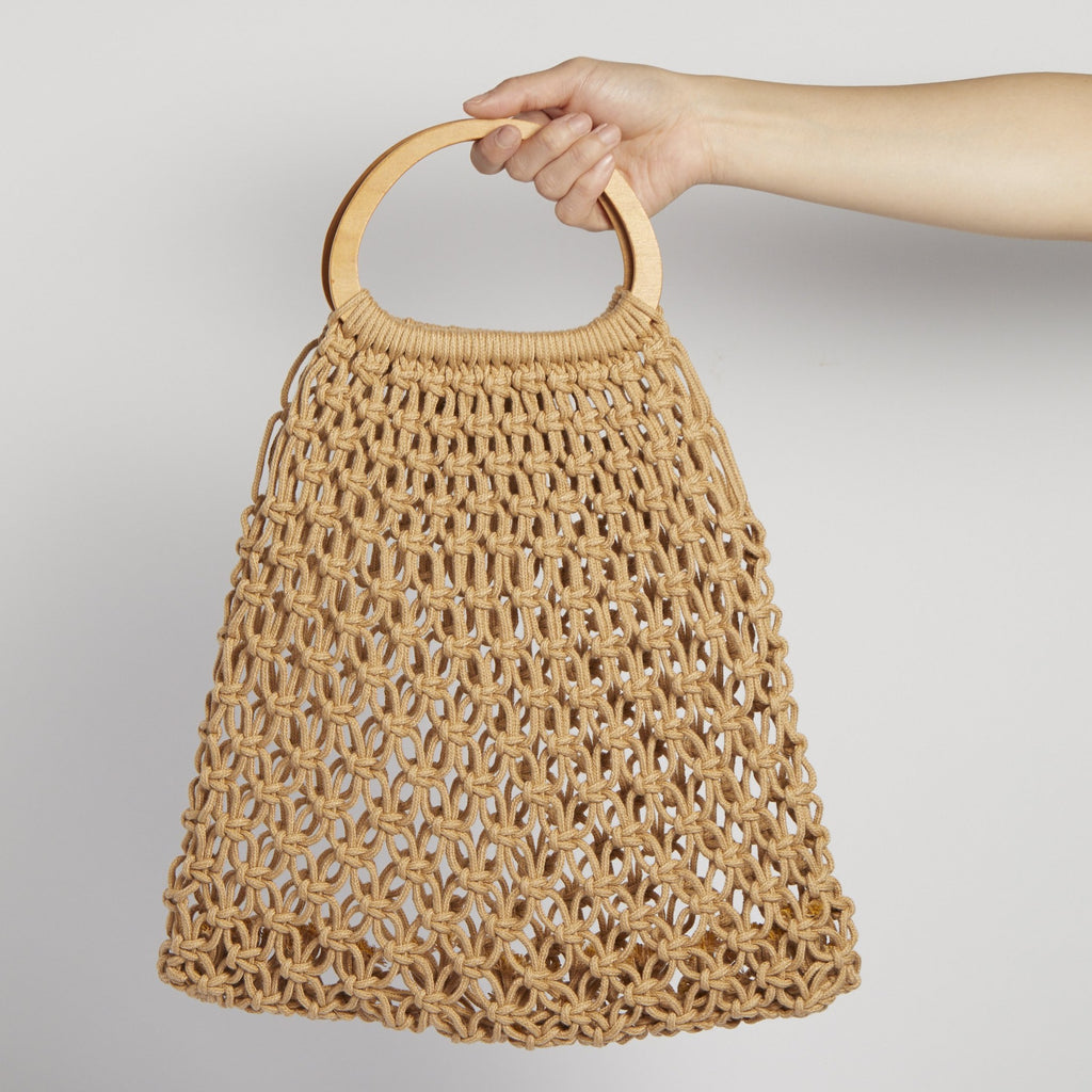 Wooden handle netted bucket bag - picnic-sf