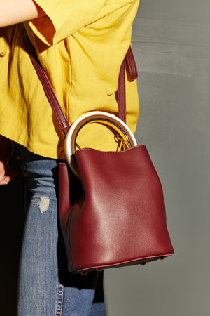 Gemma Round Handle Crossbody Bucket Bag - P I C N I C