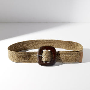 Wood Buckle Stretch Belt - picnic-sf