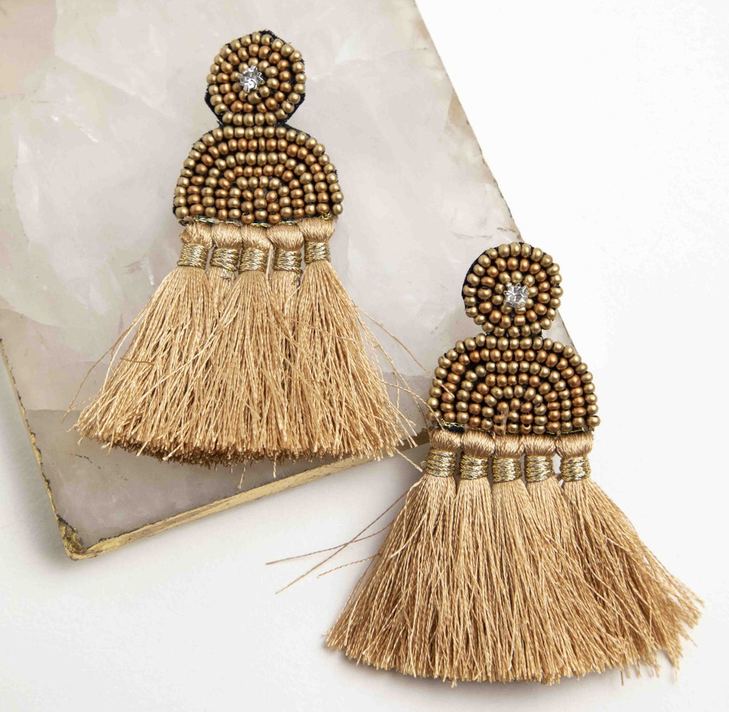 Copper Gold Semi Lune Seed Bead Tassel Earrings Picnic-SF