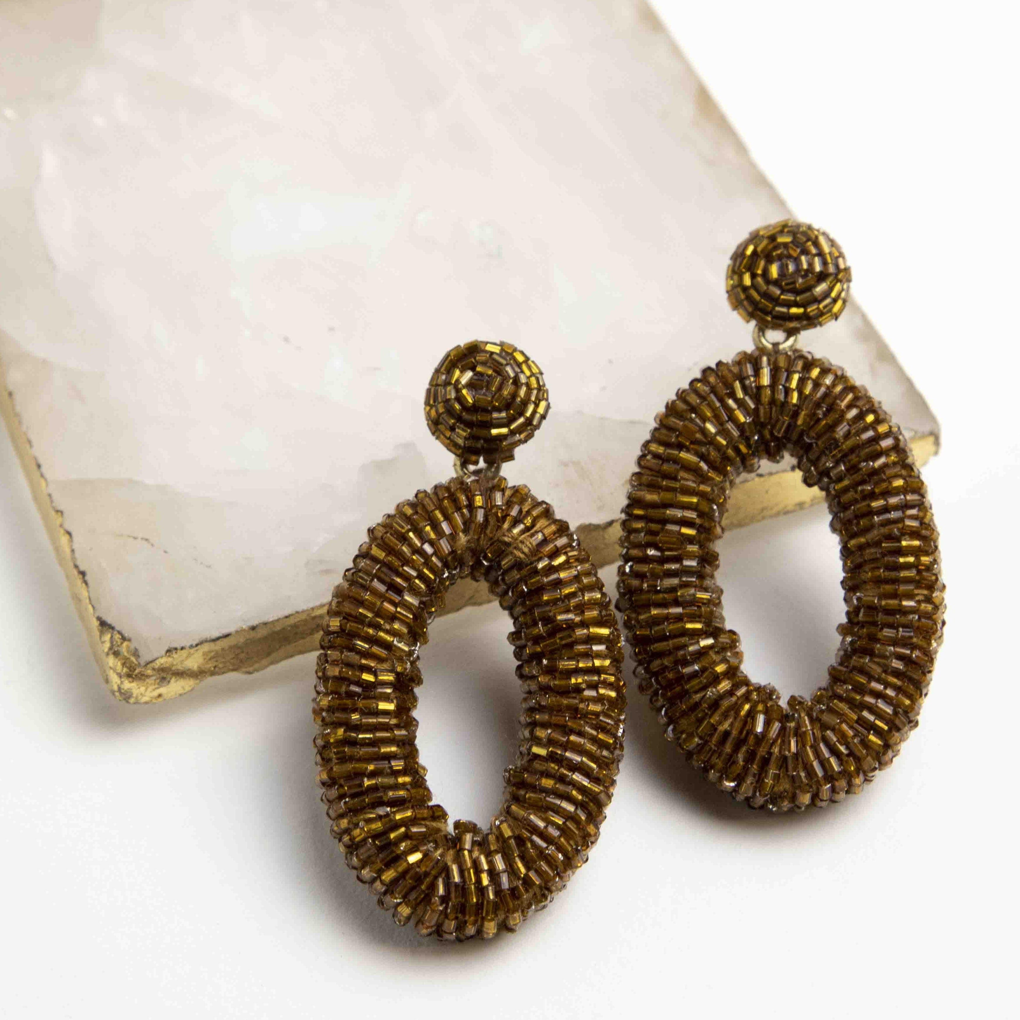 Antique Gold Drop Oval Seed Bead Earrings Picnic-SF
