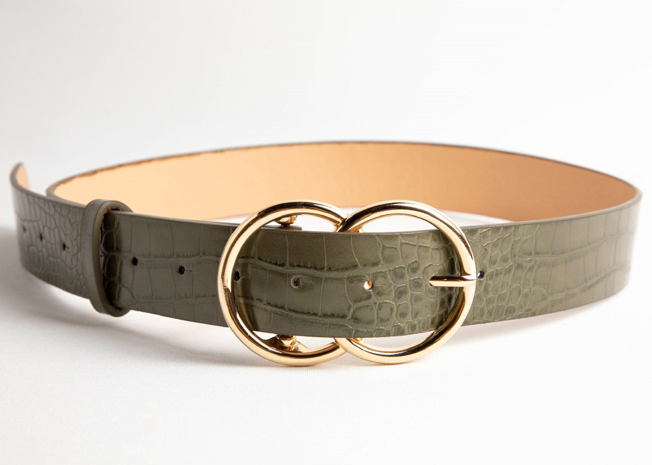 Faux Snake Skin Double O-Ring Belt - picnic-sf