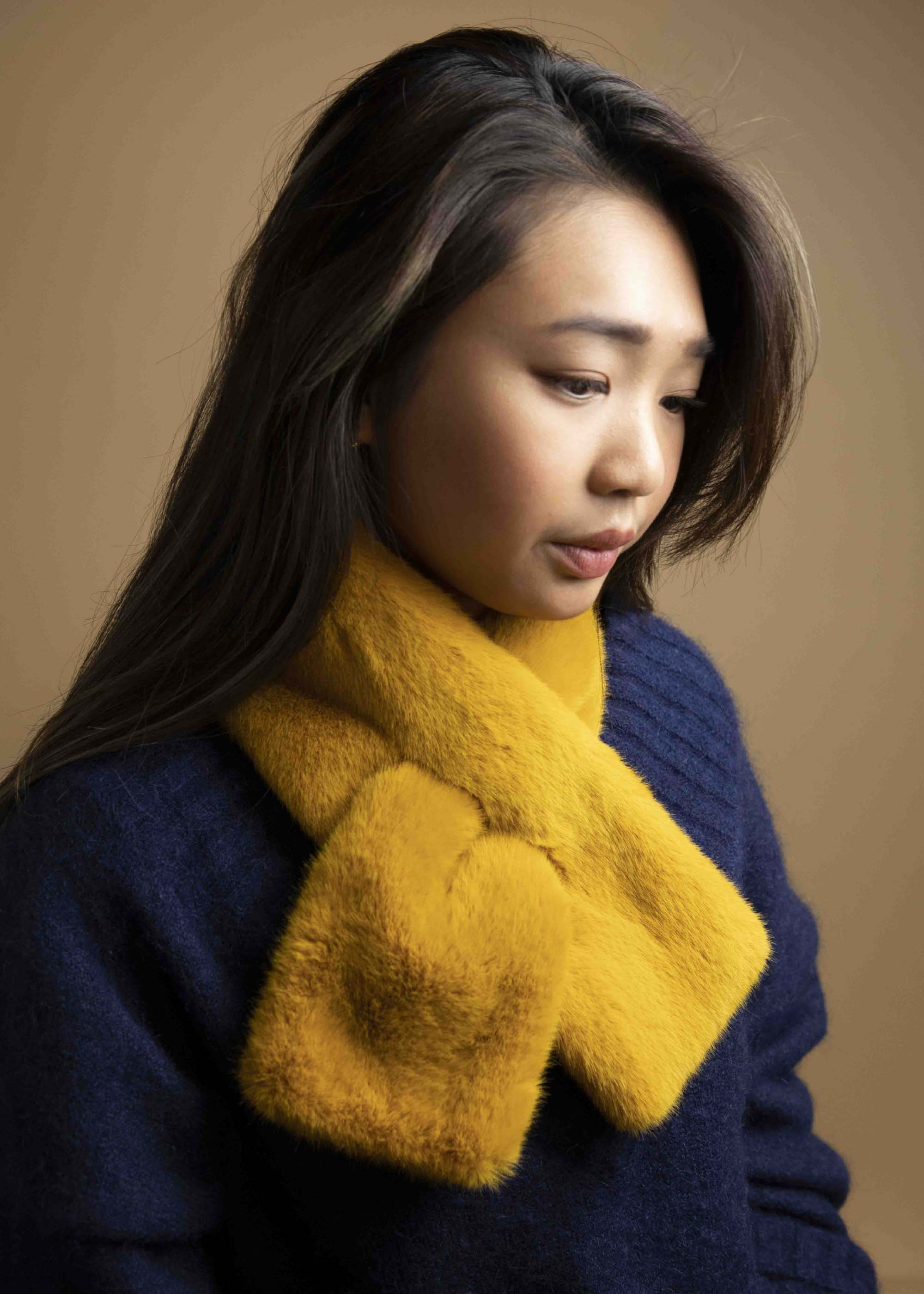 Faux Fur Muffler in Mustard Picnic-SF