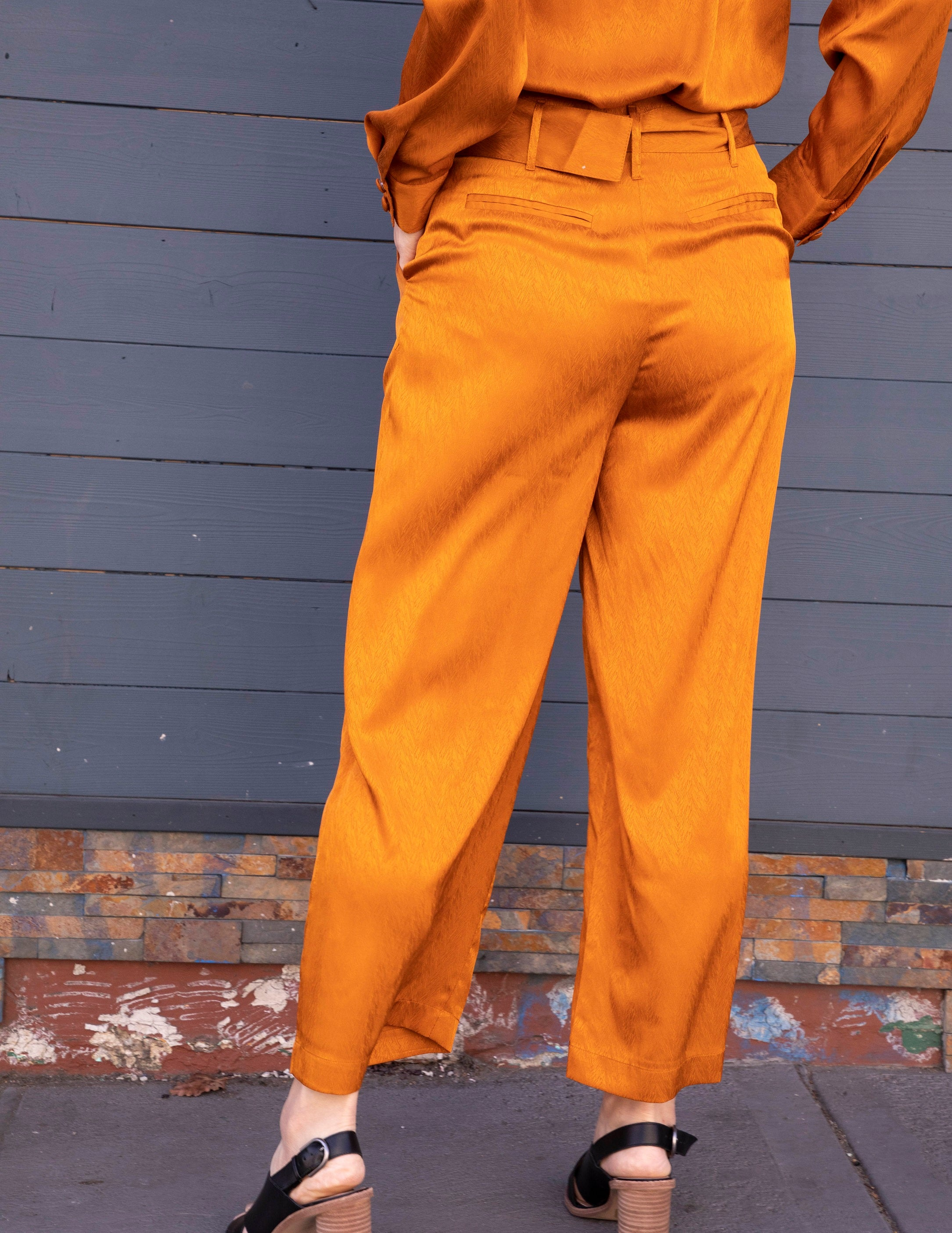Pumpkin Satin Belted Wide Leg Cropped Pants - picnic-sf