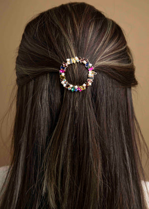 Nessy Circle Bejeweled Hair Clip
