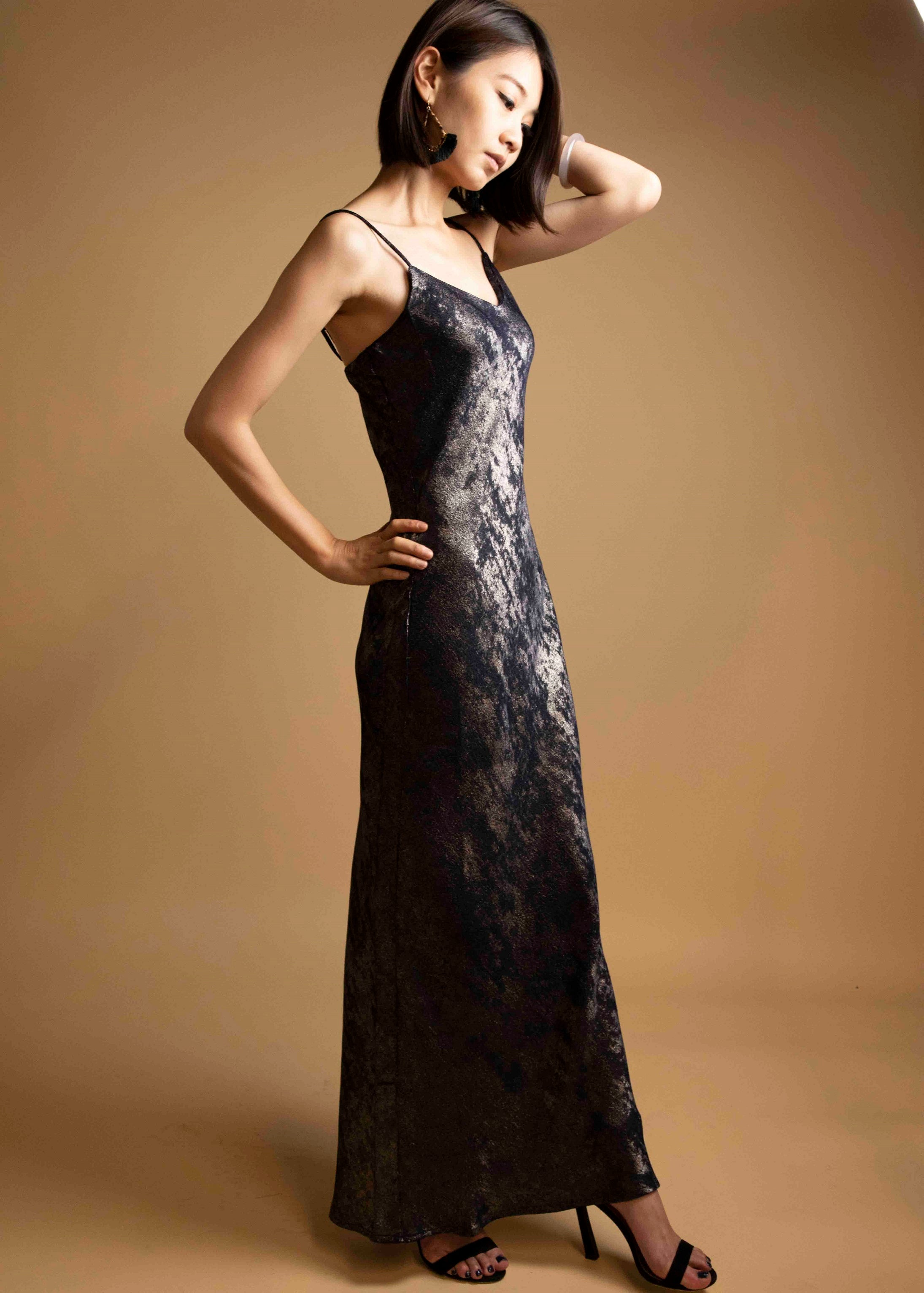 Velvet Metallic Foil Bias Cut Spaghetti Strap Dress