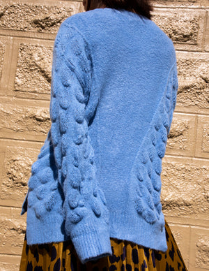Dusty Blue Patterned Crew Neck Sweater - picnic-sf