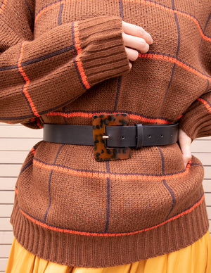 Brown Checked Turtleneck Sweater