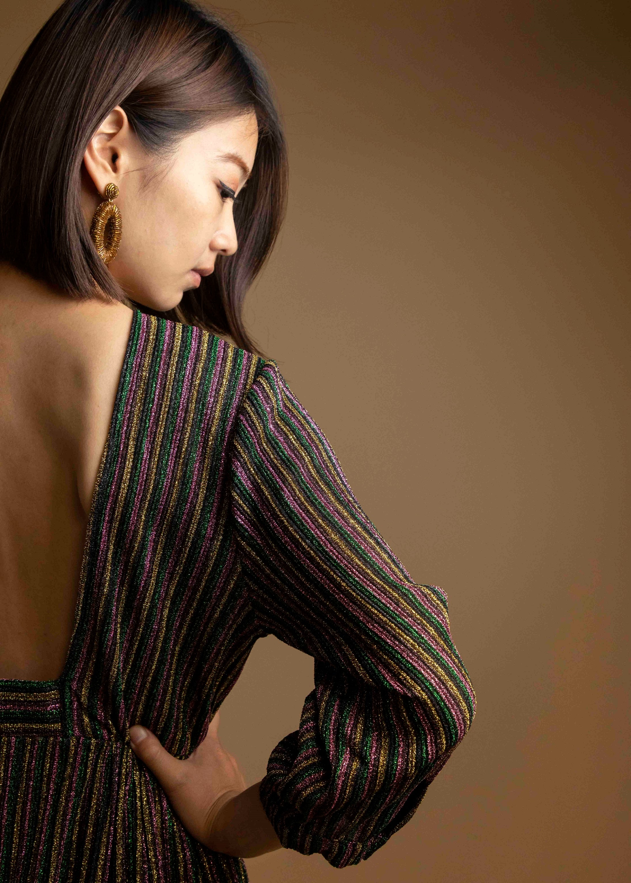 Rainbow Metallic Striped Backless Dress