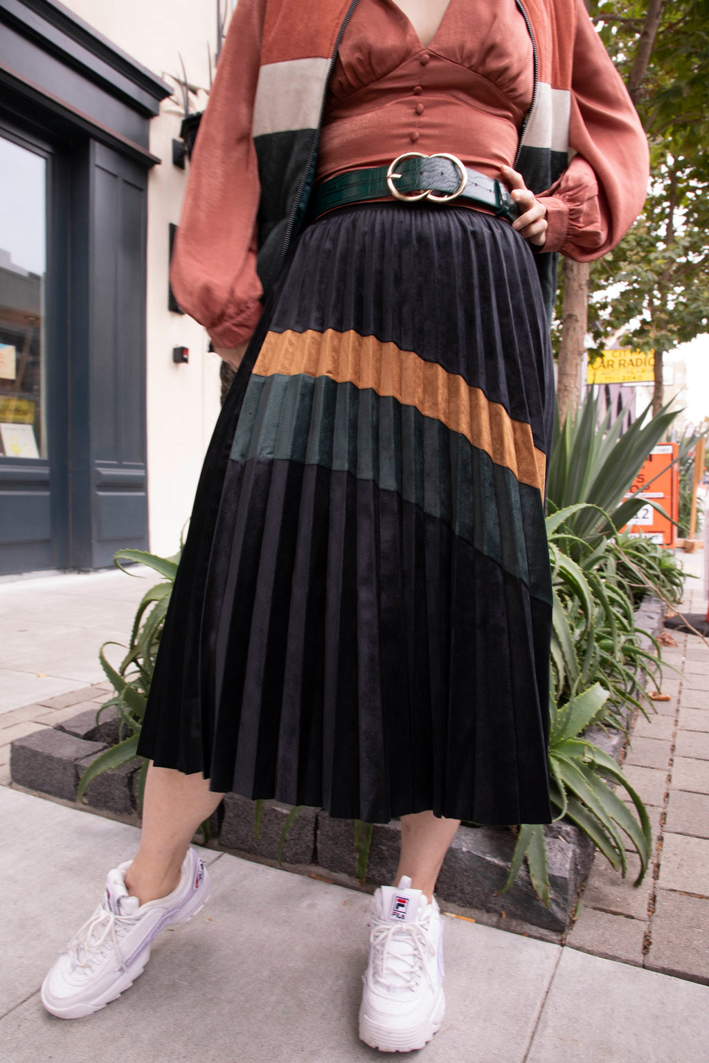Pleated Suede Color Block Midi Skirt - picnic-sf