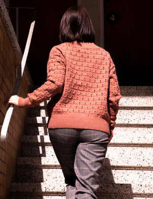 Rust Crochet Long Sleeves Sweater - picnic-sf