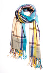 Multi-color Plaid Fringe Scarf - picnic-sf