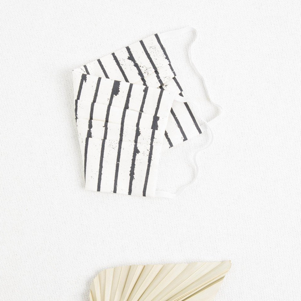 B+W striped pleated face mask picnic sf