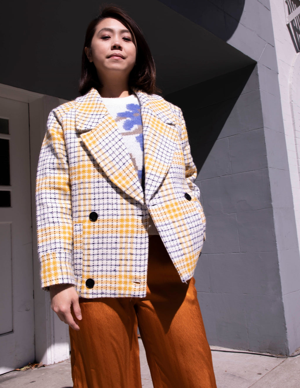 Yellow Wool-Blend Shani Check Coat - picnic-sf