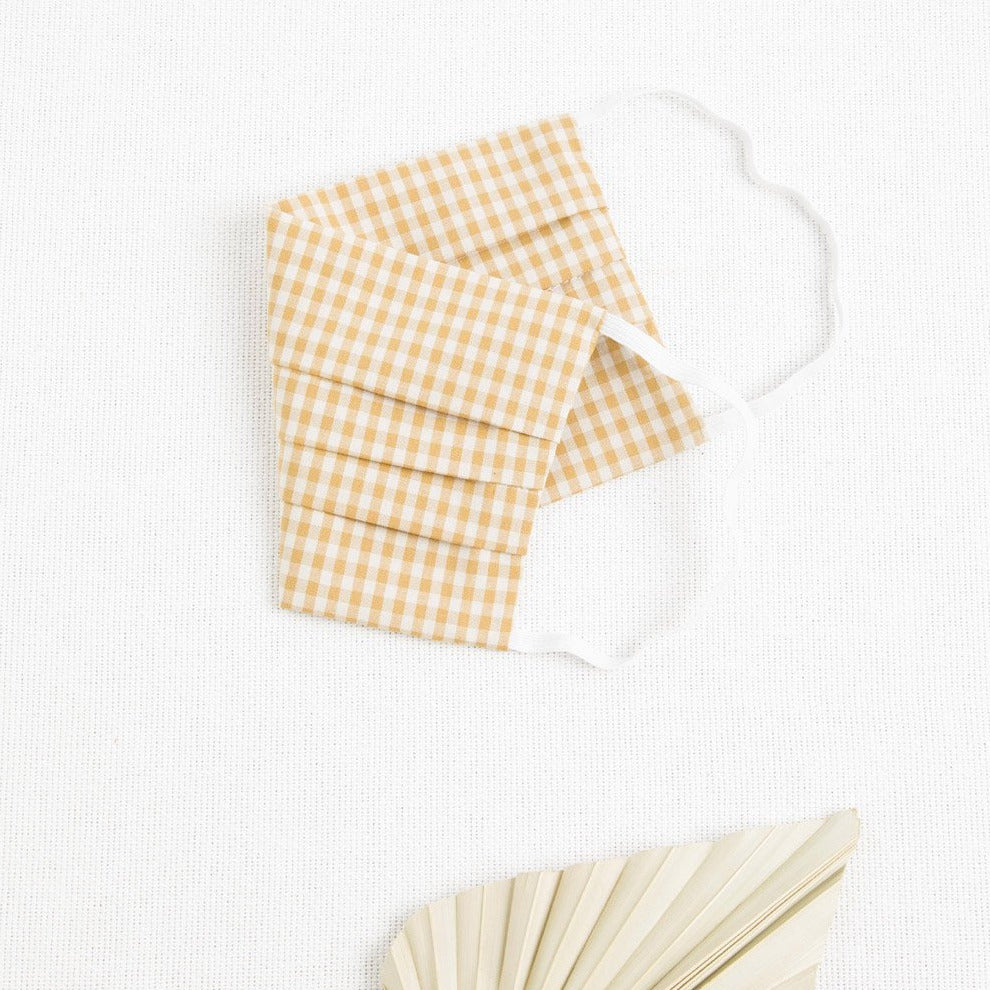 Mustard gingham pleated face mask - picnic sf