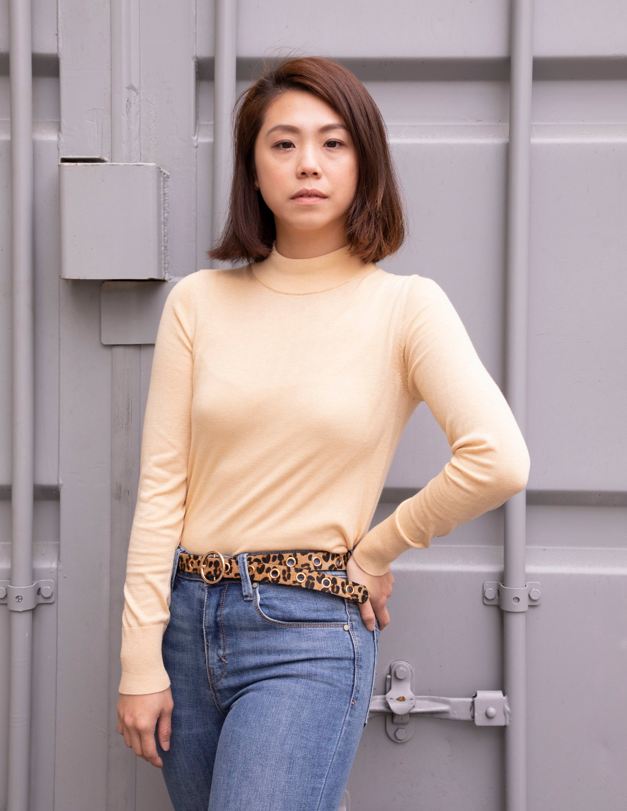 Light Yellow Turtleneck Knit Top - picnic-sf