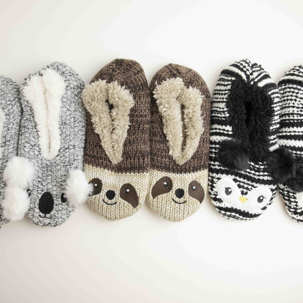 Fuzzy Babba Knit Animal Slipper Socks