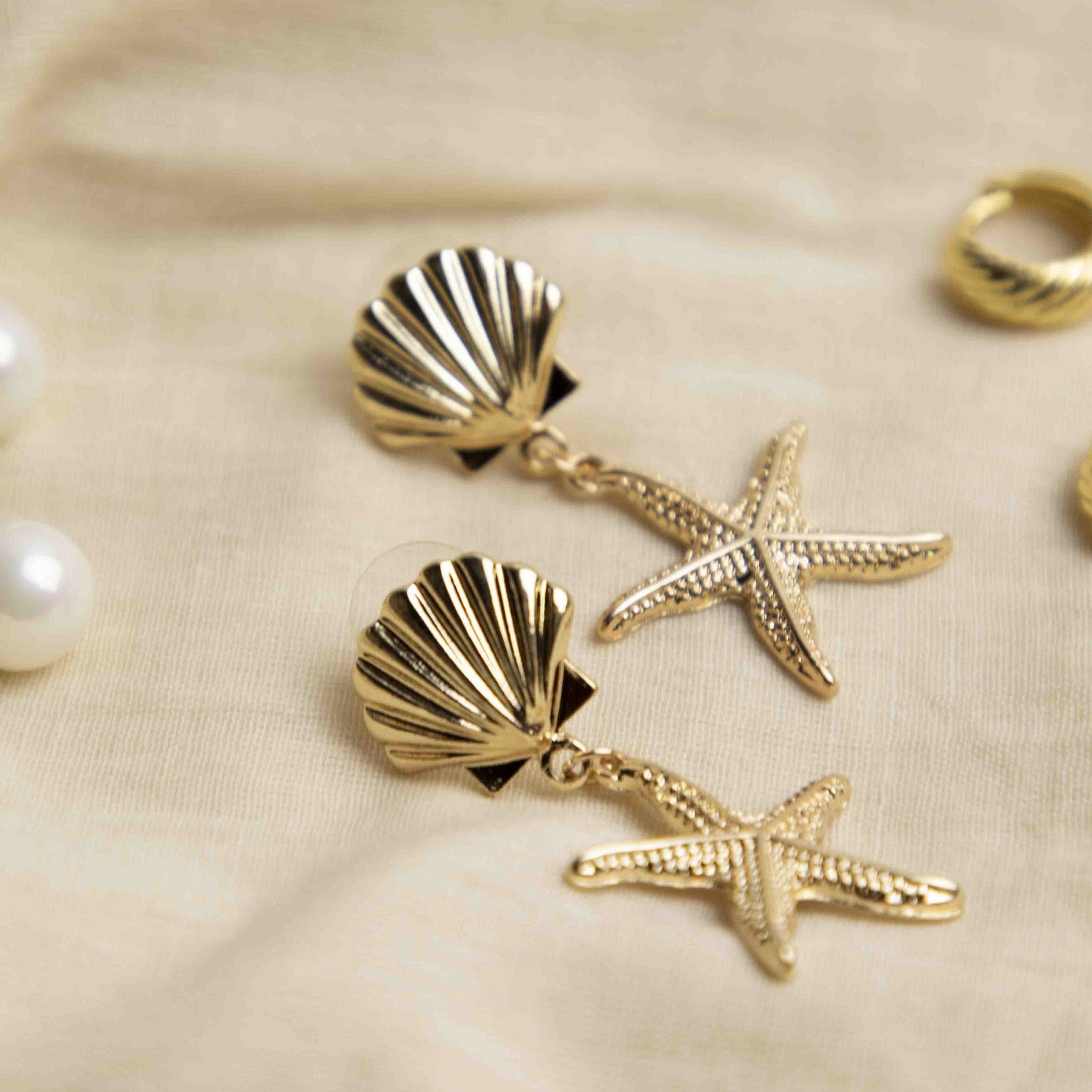 Seashell Starfish Drop Earrings - picnic-sf