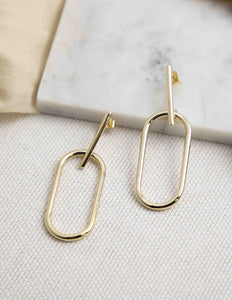 Oval Drop Bar Stud Earrings - picnic-sf