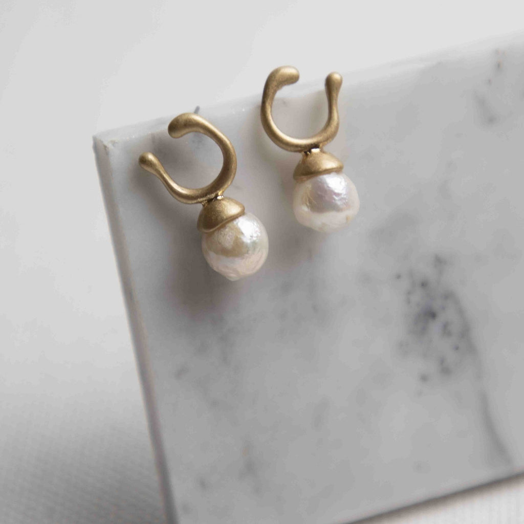 Abstract Freshwater Pearl Post Earrings - picnic-sf