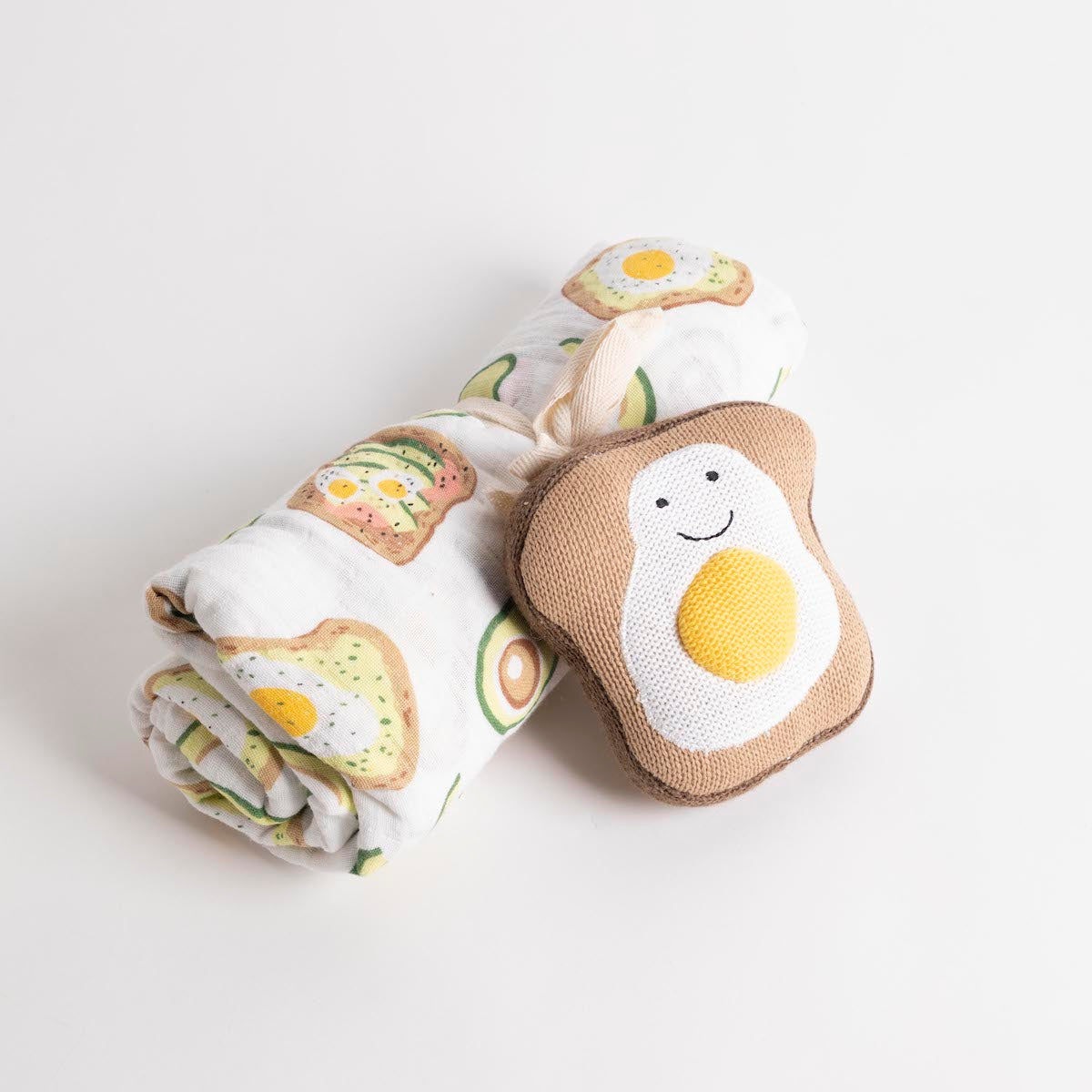 Avocado Swaddle & Toast Rattle Set- PCNIC SF